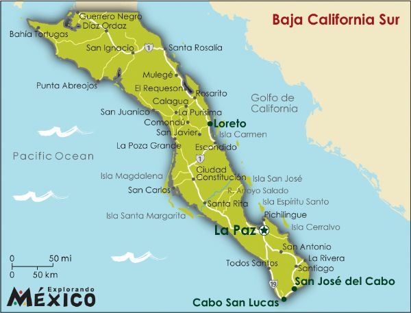 Mapa de Mexico Baja California Sur Baja California Sur
